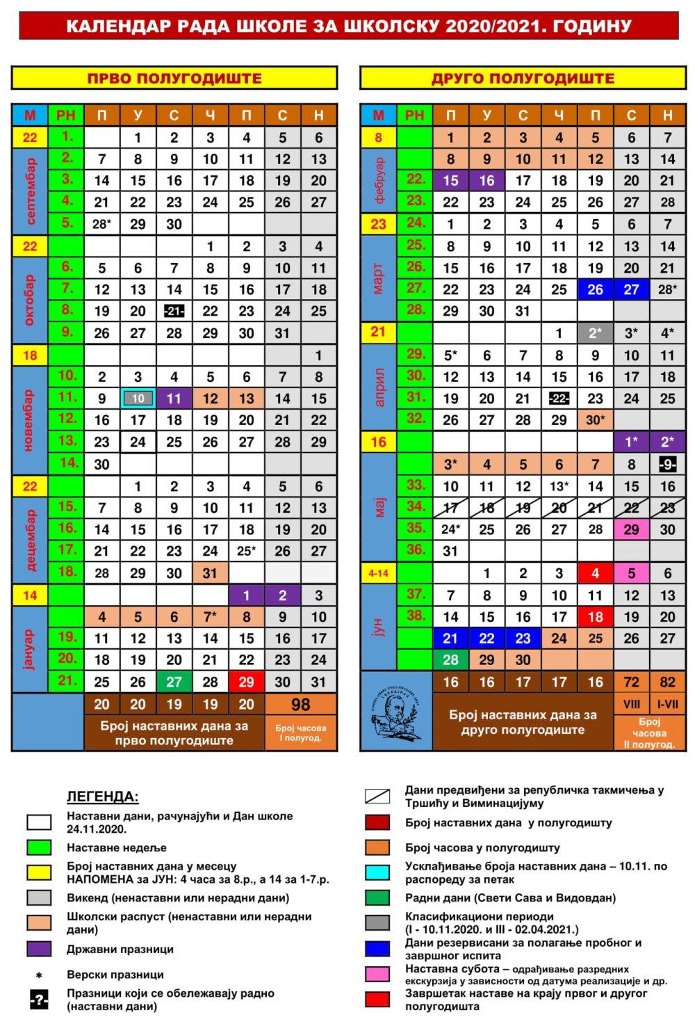 kalendar rada