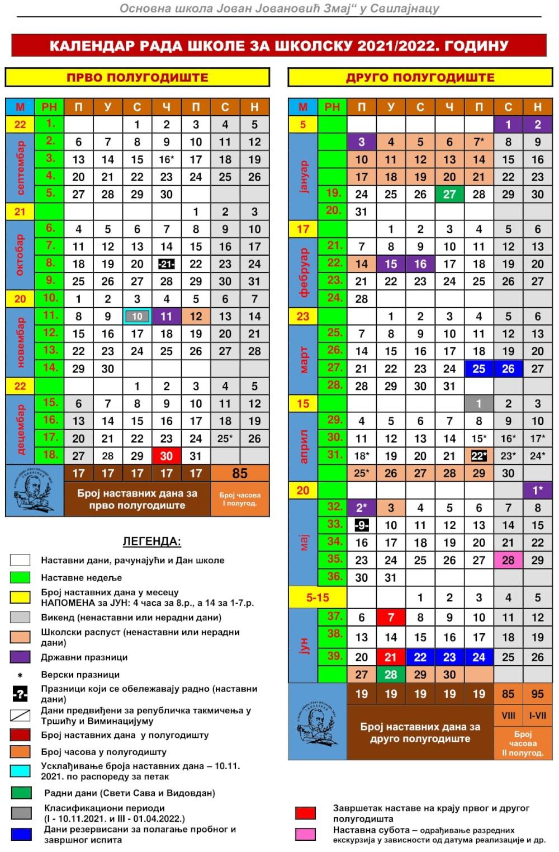 kalendar rada u boji